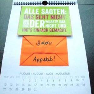 Kalenderseite zum Thema Restaurant-Gutschein