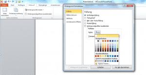 Microsoft PowerPoint 2010 Hintergrundfarbe einstellen