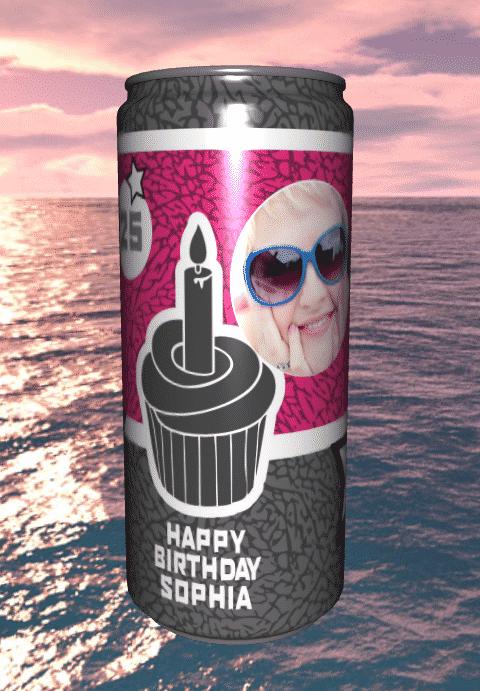 Getränkedosen bedrucken zum Geburtstag - 3D Ansicht
