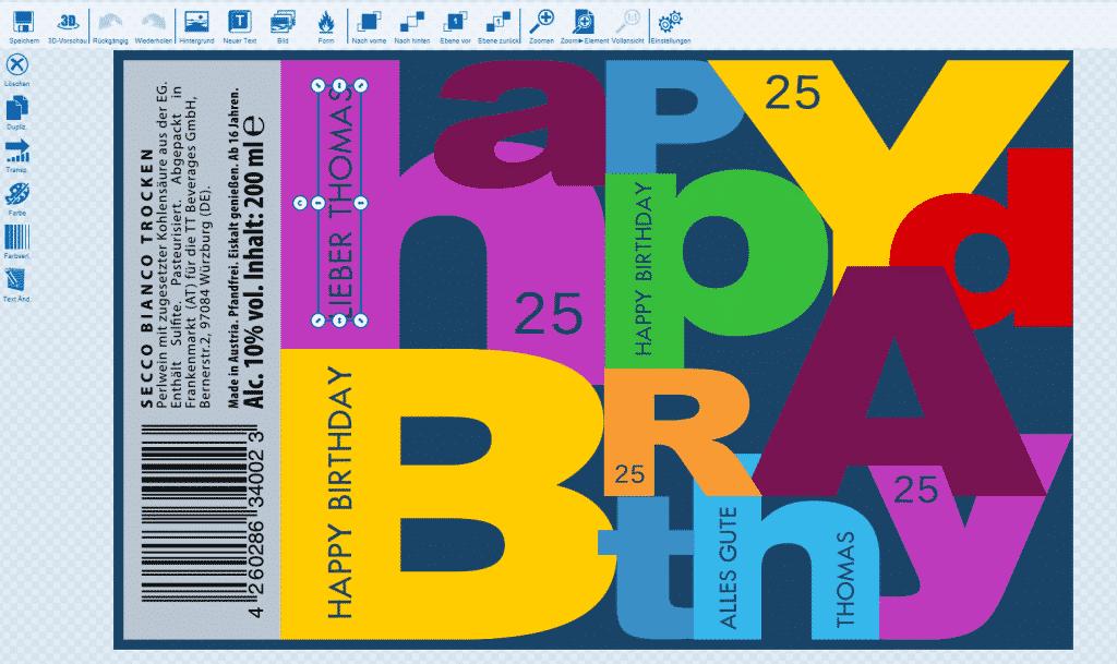 Getränkedosen bedrucken zum Geburtstag mit Gestaltungsvorlage