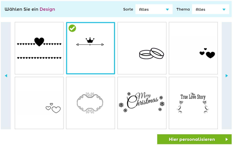 Auswahl des Designs für Euer Weinglas mit Gravur