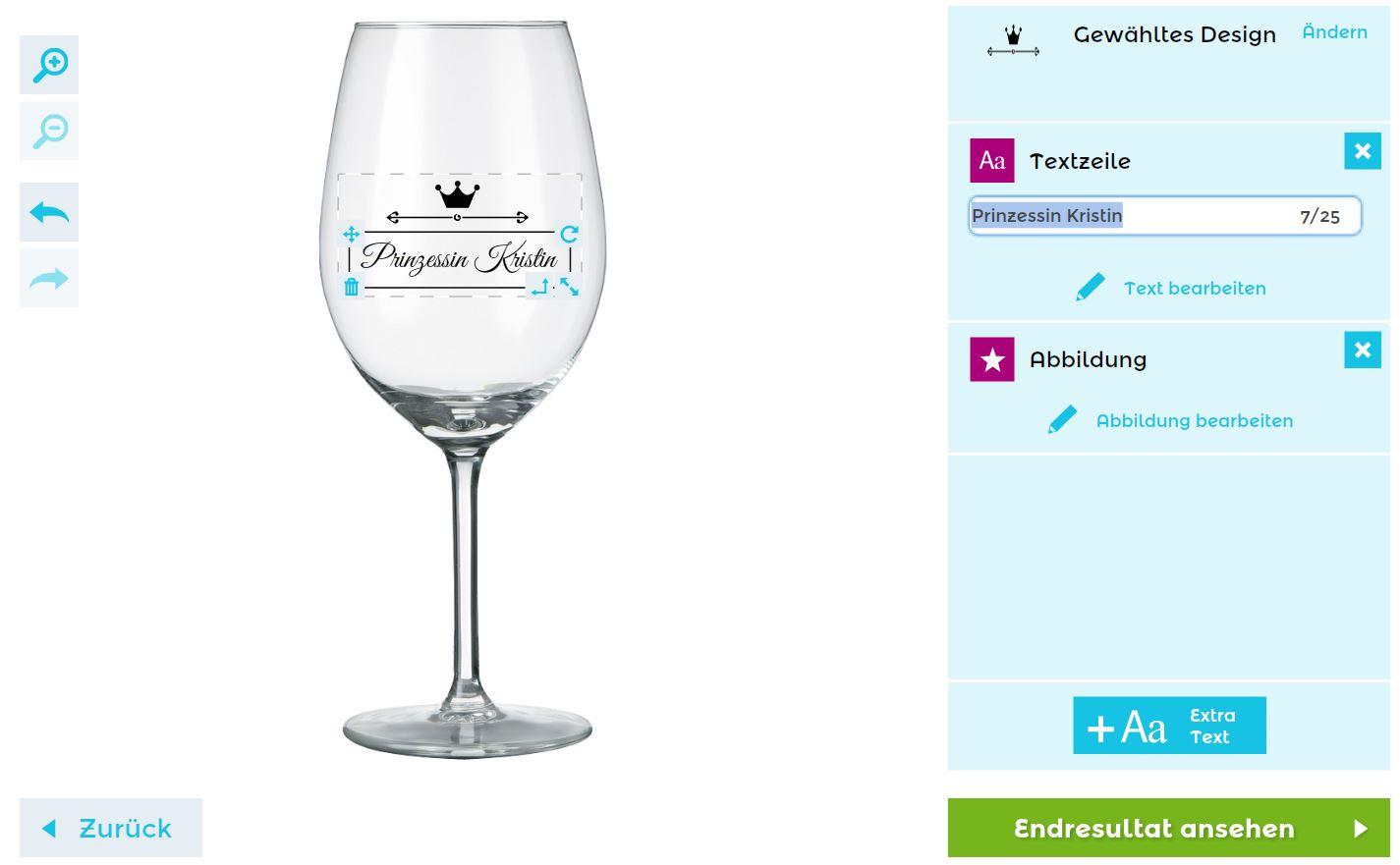 Gestaltung der Textgravur für Euer Weinglas