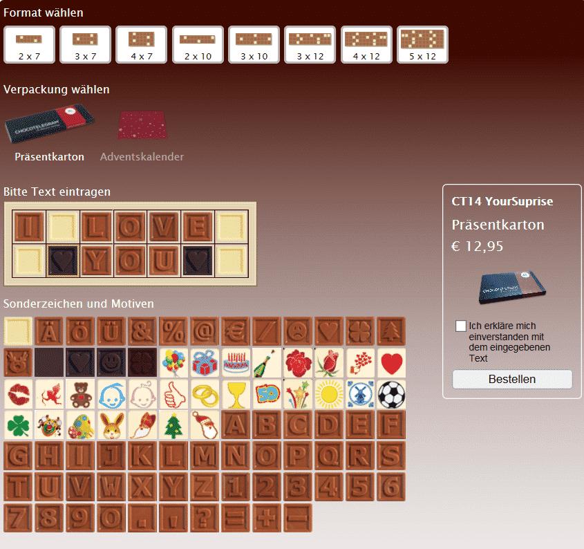 Personalisierte Schokolade Chocotelegram I love you