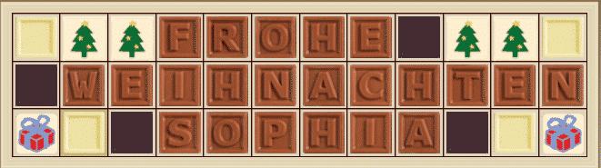 Personalisierte Schokolade Frohe Weihnachten Sophia