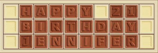 Personalisierte Schokolade Happy 21 Birthday Jennifer