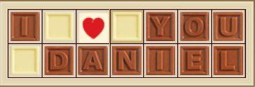 Personalisierte Schokolade I love you Daniel