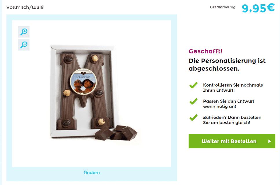 Schokoladenbuchstabe - Ergebnisvorschau