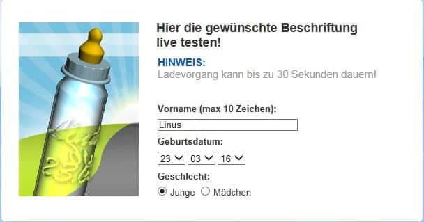 Babyflasche mit Namen im Vorschau Screen auf meinebabyflasche.de