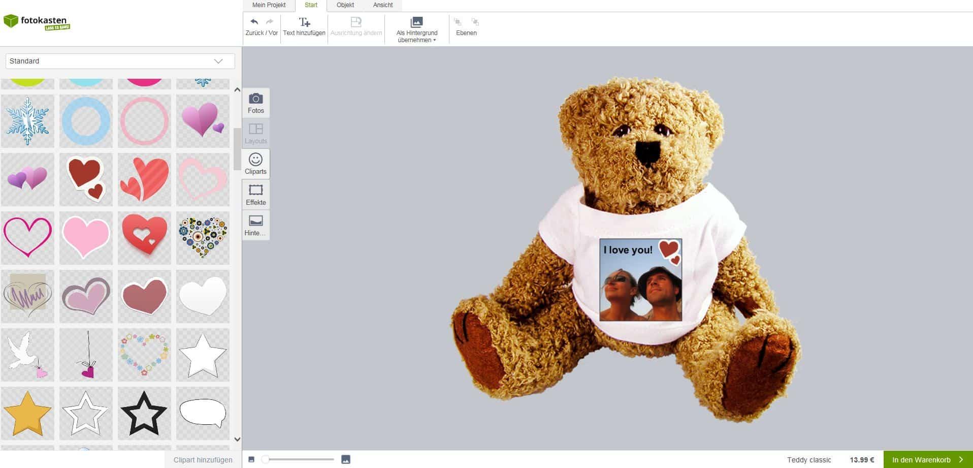 Gestaltung Eures Teddys mit Foto bei Fotokasten