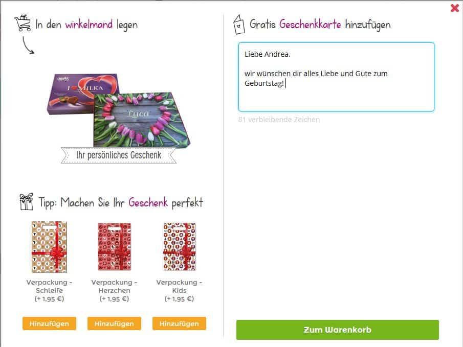 Sag es mit Milka personalisieren mit kostenloser Grusskarte