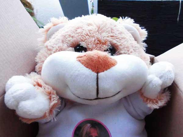 Euer Teddybär Betsy empfängt Euch mit einem breiten Lächeln