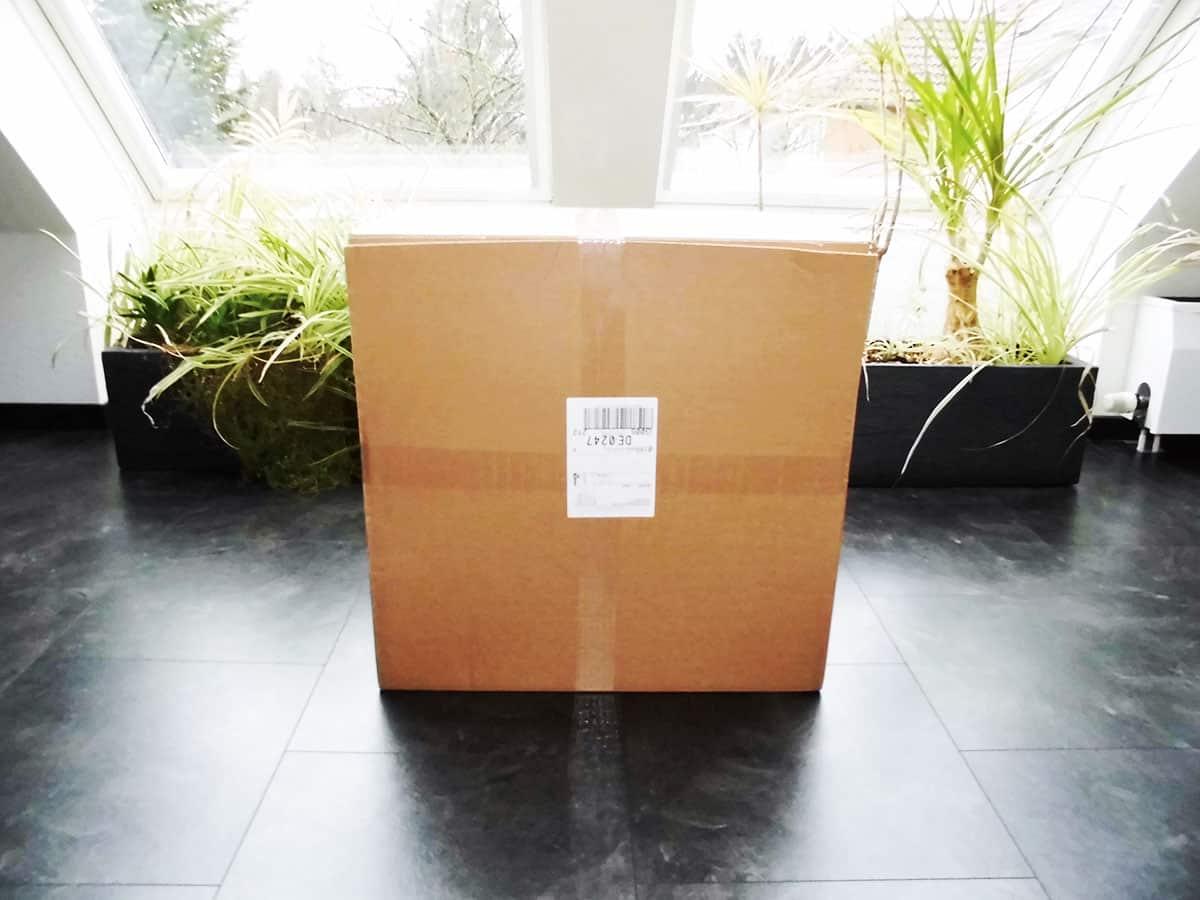 Lieferung des Geschenkballons in großem Pappkarton