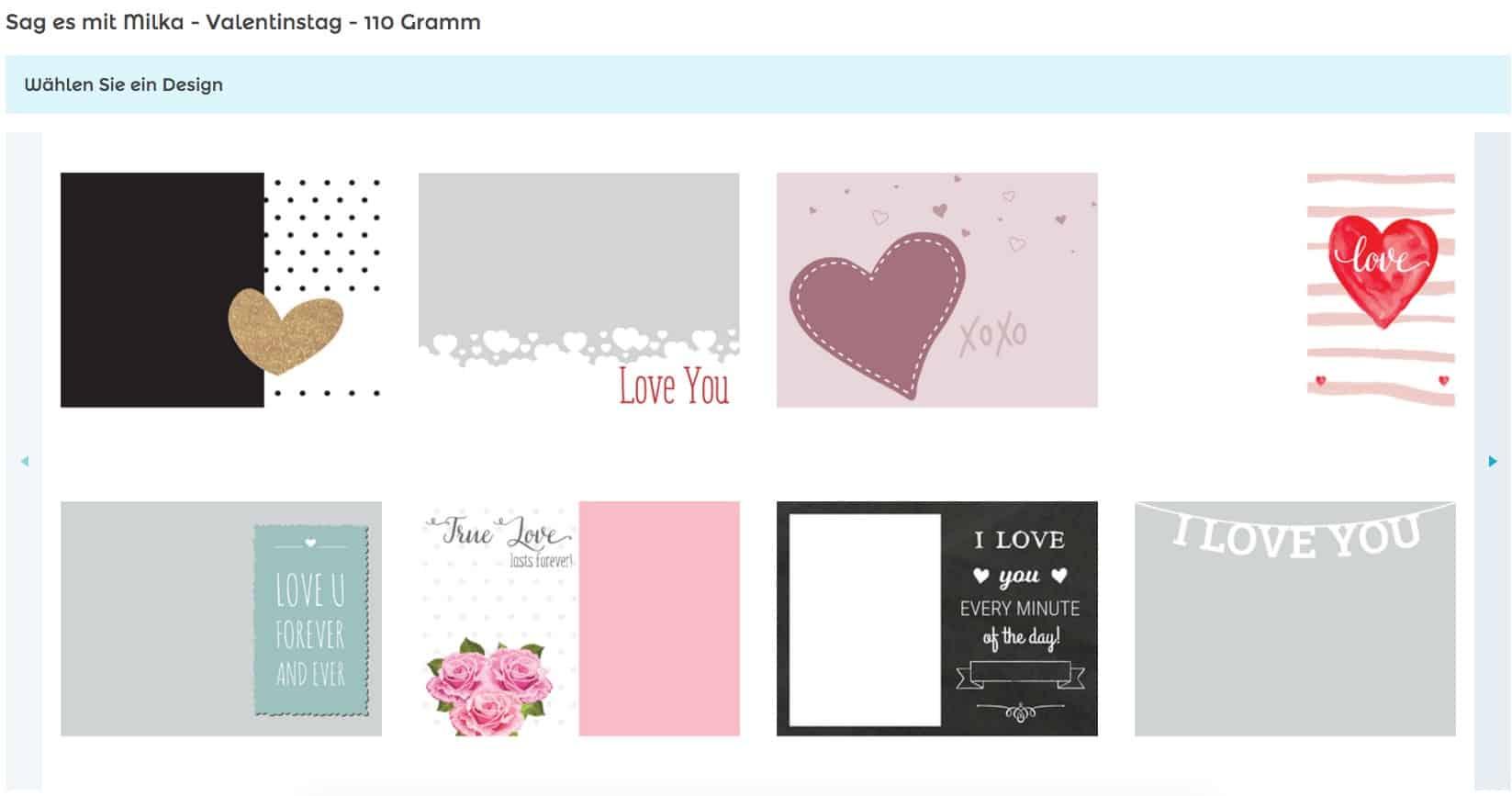 Milka personalisieren im Online-Konfigurator von yoursurprise mit verschiedenen Liebes Designs