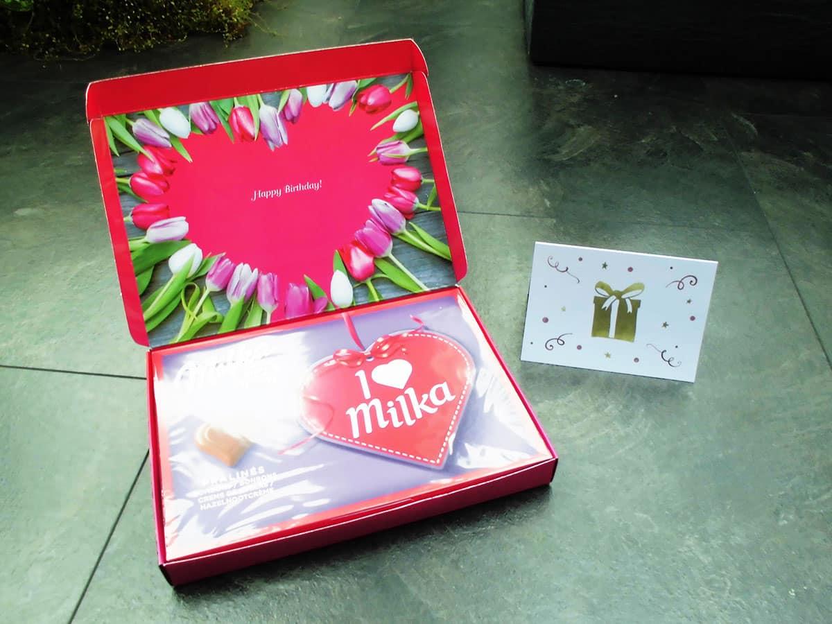 Personalisierte Milka Schokolade mit Glückwunschkarte