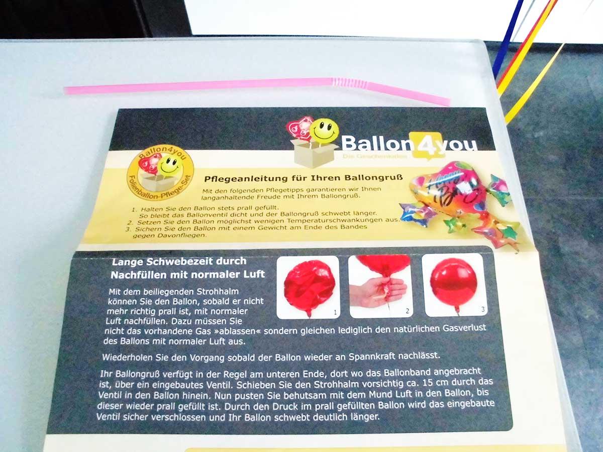 Pflegeanleitung für Euren Geschenkballon mit Anleitung zum Luft nachfüllen
