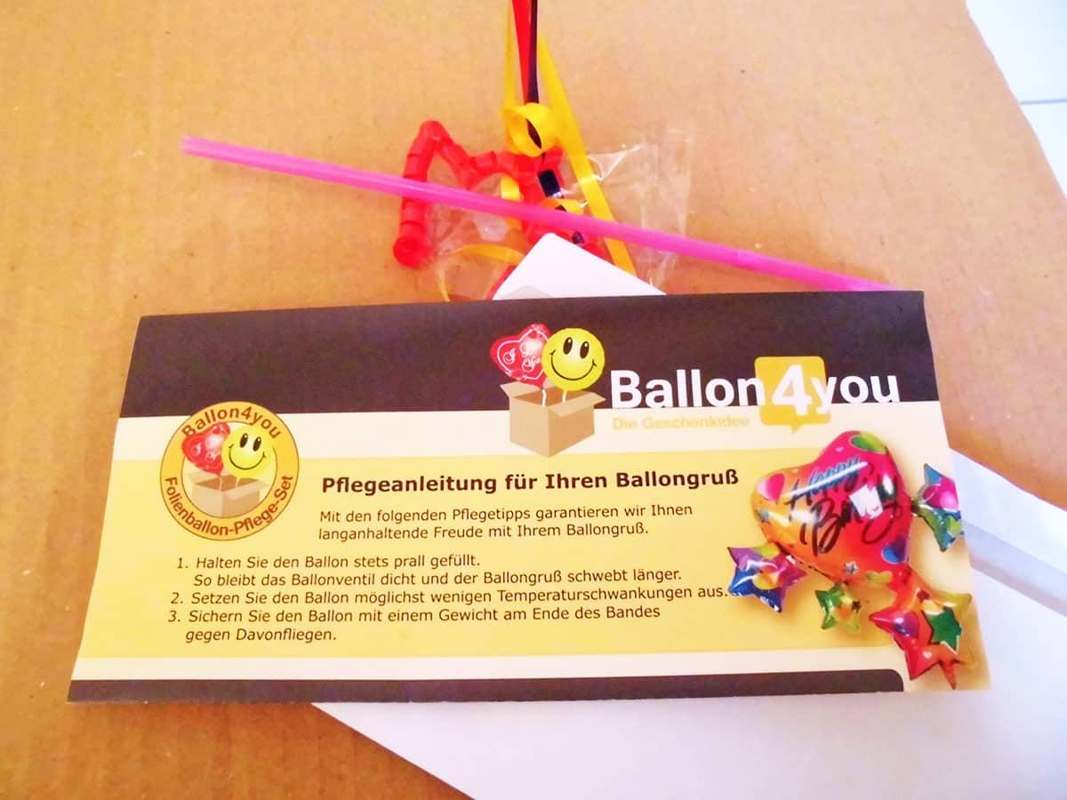Pflegeanleitung für den Geschenkballon inklusive Strohhalm zum Luft nachfüllen