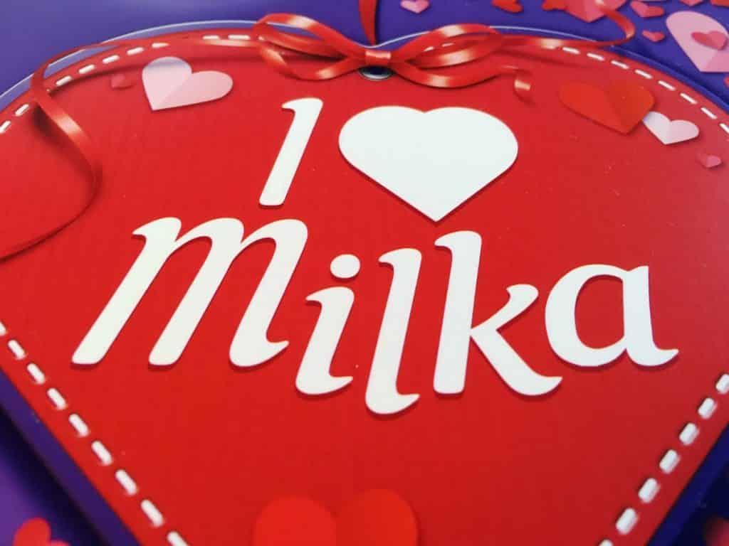 Beachte bei der Abmessung, dass der Milka-Schriftzug ist etwas ungerade ist